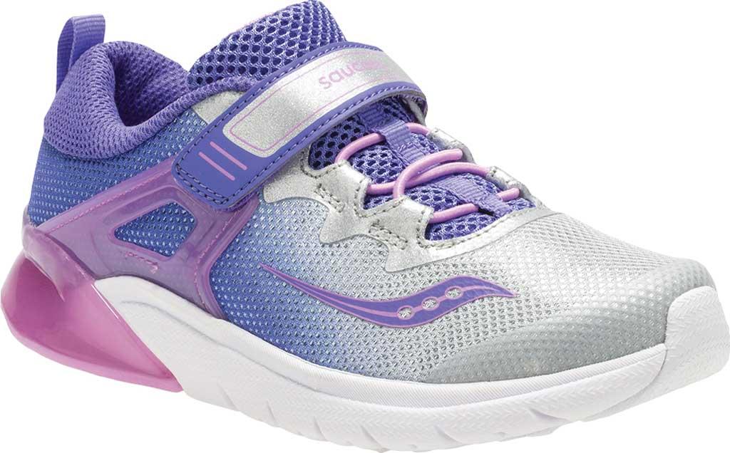 Girls' Saucony Flash Glow AC Sneaker, Purple/Silver Textile/Mesh, large, image 1