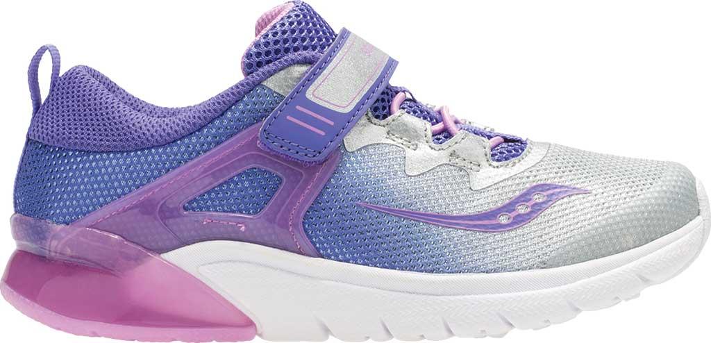 Girls' Saucony Flash Glow AC Sneaker, Purple/Silver Textile/Mesh, large, image 2