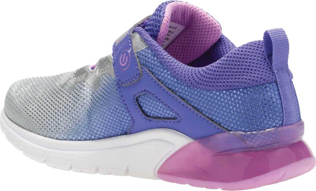 Girls' Saucony Flash Glow AC Sneaker, Purple/Silver Textile/Mesh, large, image 3
