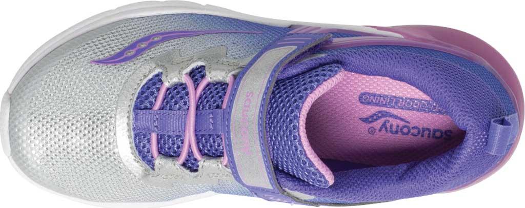 Girls' Saucony Flash Glow AC Sneaker, Purple/Silver Textile/Mesh, large, image 4