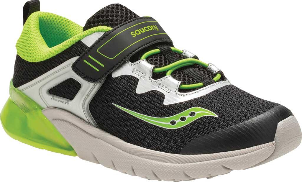 Boys' Saucony Flash Glow AC Sneaker, Black/Green Textile/Mesh, large, image 1