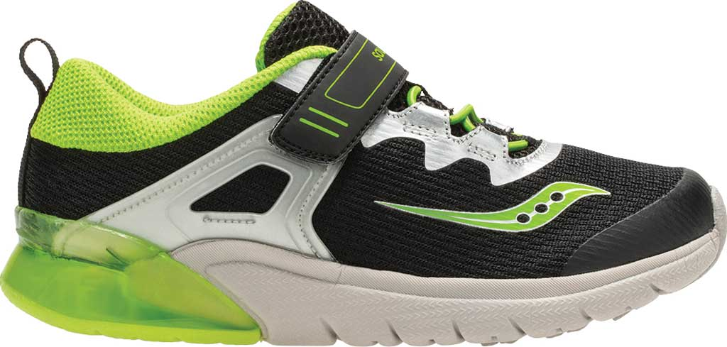 Boys' Saucony Flash Glow AC Sneaker, Black/Green Textile/Mesh, large, image 2