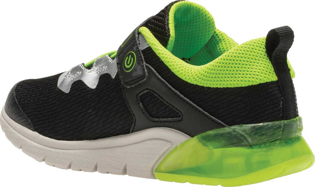 Boys' Saucony Flash Glow AC Sneaker, Black/Green Textile/Mesh, large, image 3