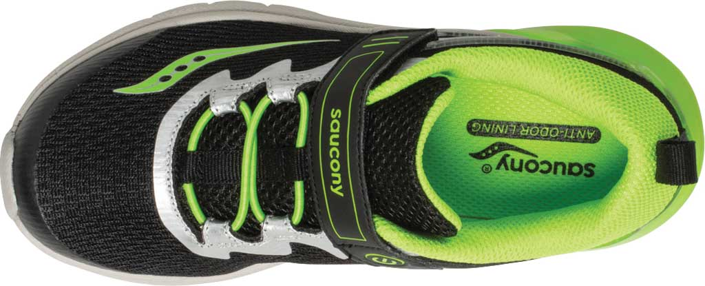 Boys' Saucony Flash Glow AC Sneaker, Black/Green Textile/Mesh, large, image 4