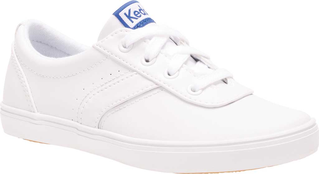 Girls' Keds Riley Sneaker, White Leather, large, image 1