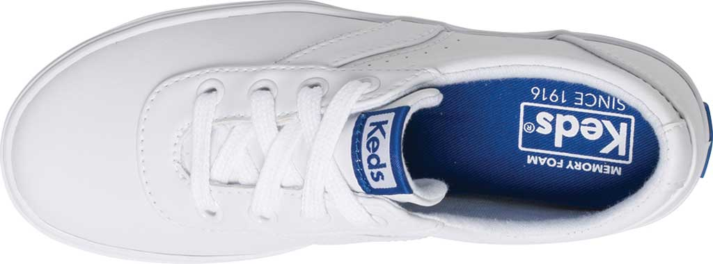 Girls' Keds Riley Sneaker, White Leather, large, image 4