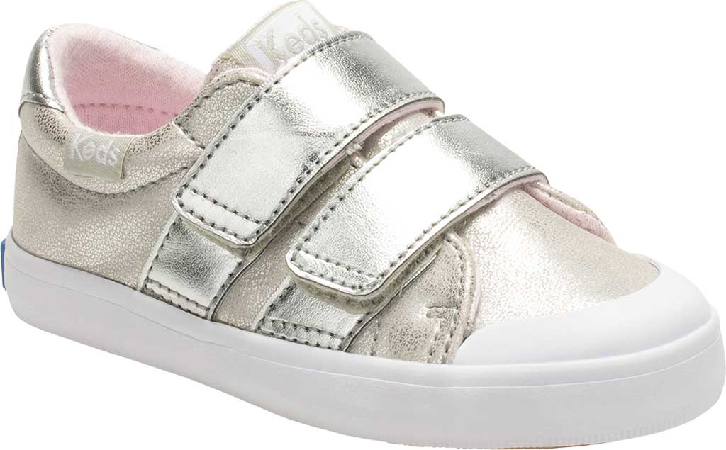 Infant Girls' Keds Courtney Hook and Loop Two Strap Sneaker, Silver Synthetic, large, image 1