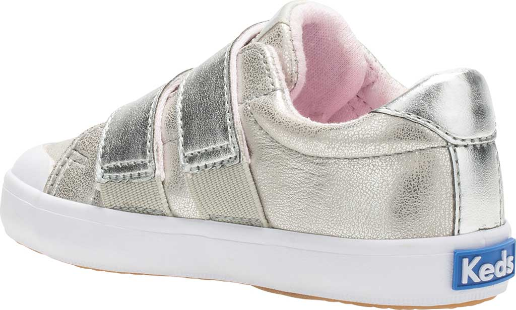 Infant Girls' Keds Courtney Hook and Loop Two Strap Sneaker, Silver Synthetic, large, image 3