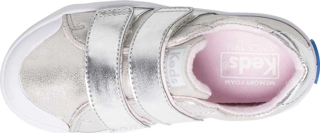 Infant Girls' Keds Courtney Hook and Loop Two Strap Sneaker, Silver Synthetic, large, image 4
