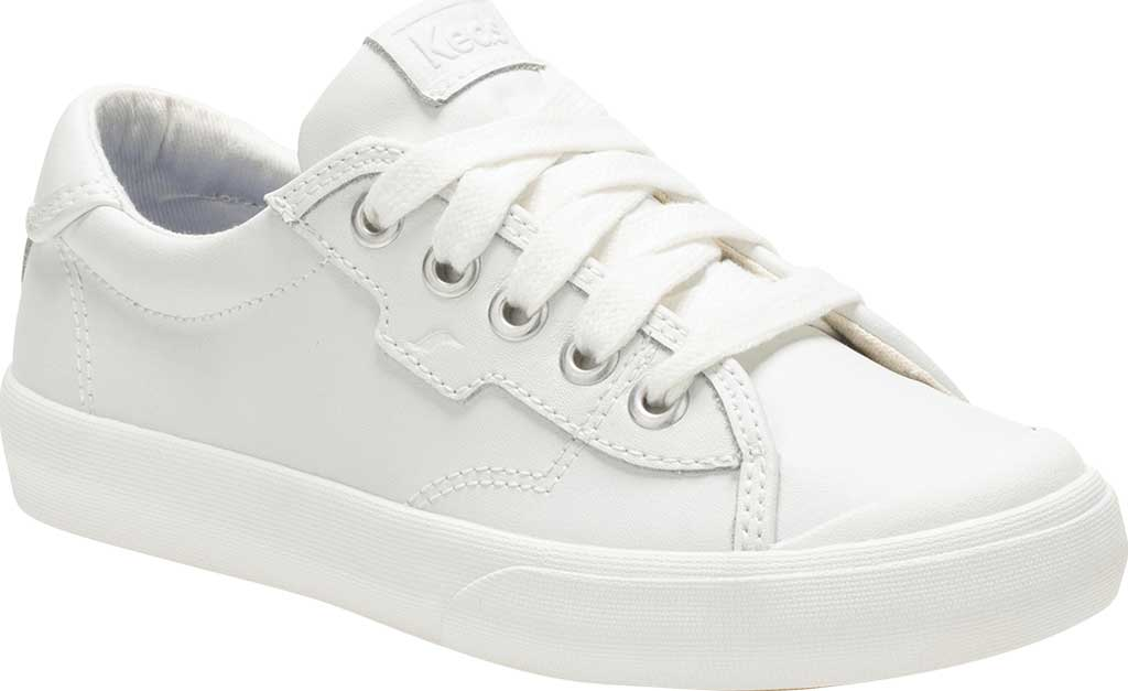 Girls' Keds Crew Kick 75 Sneaker, White Leather, large, image 1