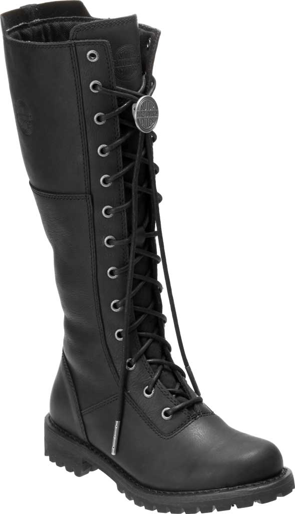 Women's Harley-Davidson Walfield Tall Motorcycle Boot, Black Full Grain Leather, large, image 1
