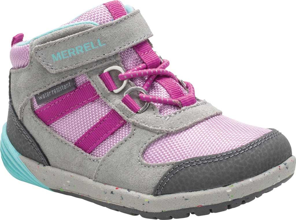 Infant Girls' Merrell Bare Steps Ridge Junior Hiking Shoe - Little Kid, Grey/Purple Leather, large, image 1