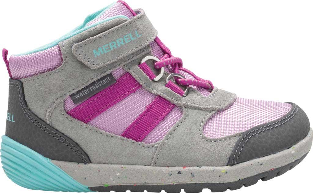 Infant Girls' Merrell Bare Steps Ridge Junior Hiking Shoe - Little Kid, Grey/Purple Leather, large, image 2