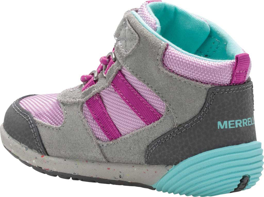 Infant Girls' Merrell Bare Steps Ridge Junior Hiking Shoe - Little Kid, Grey/Purple Leather, large, image 3