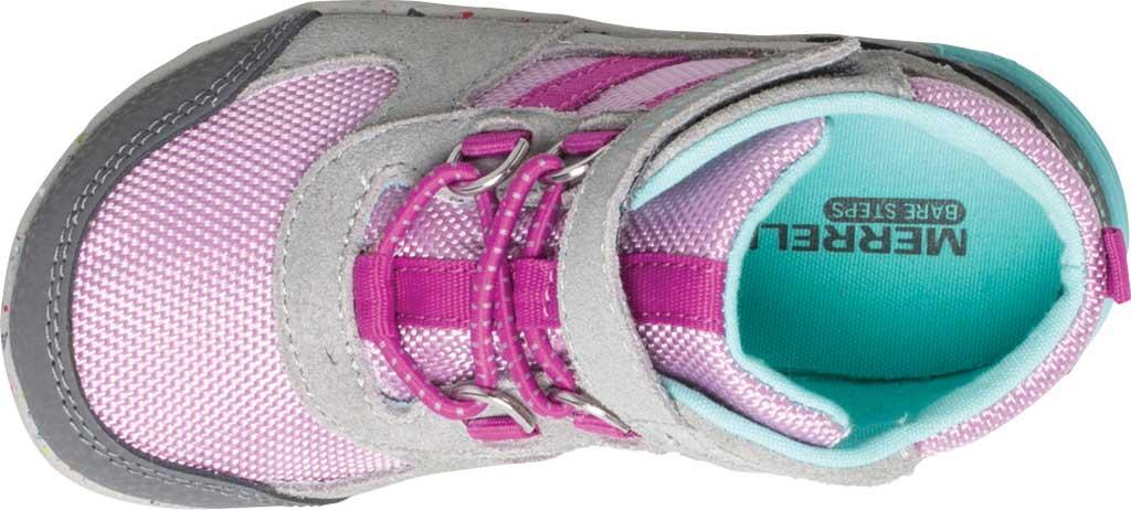 Infant Girls' Merrell Bare Steps Ridge Junior Hiking Shoe - Little Kid, Grey/Purple Leather, large, image 4