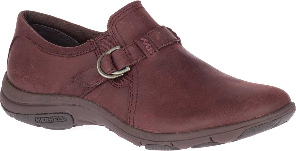 Women's Merrell Dassie Stitch Buckle Slip-On, Raisin Full Grain Leather, large, image 1