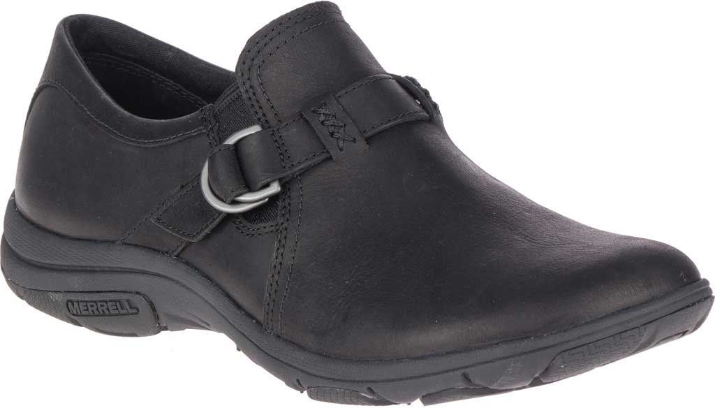 Women's Merrell Dassie Stitch Buckle Slip-On, Black Full Grain Leather, large, image 1