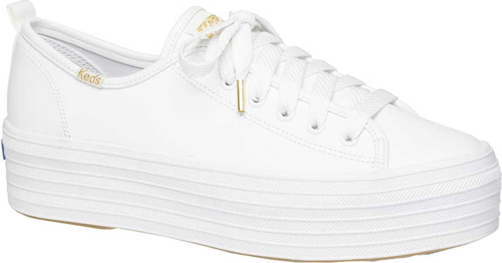 Women's Keds Triple Up Platform Sneaker, White Leather, large, image 1