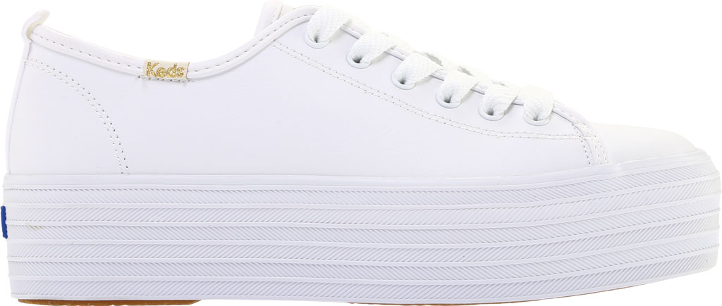 Women's Keds Triple Up Platform Sneaker, White Leather, large, image 2