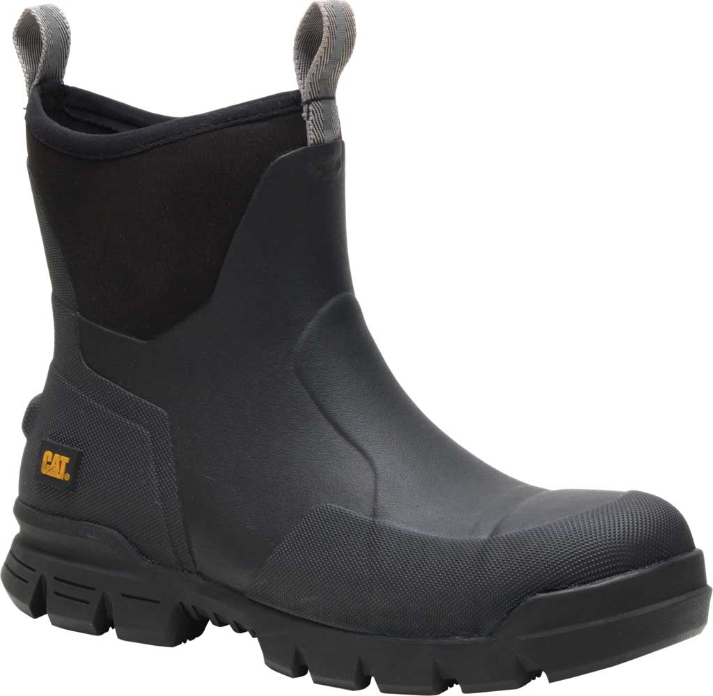 "Caterpillar Stormers 6"" Waterproof Steel Toe Rubber Boot, Black Rubber/Neoprene, large, image 1"