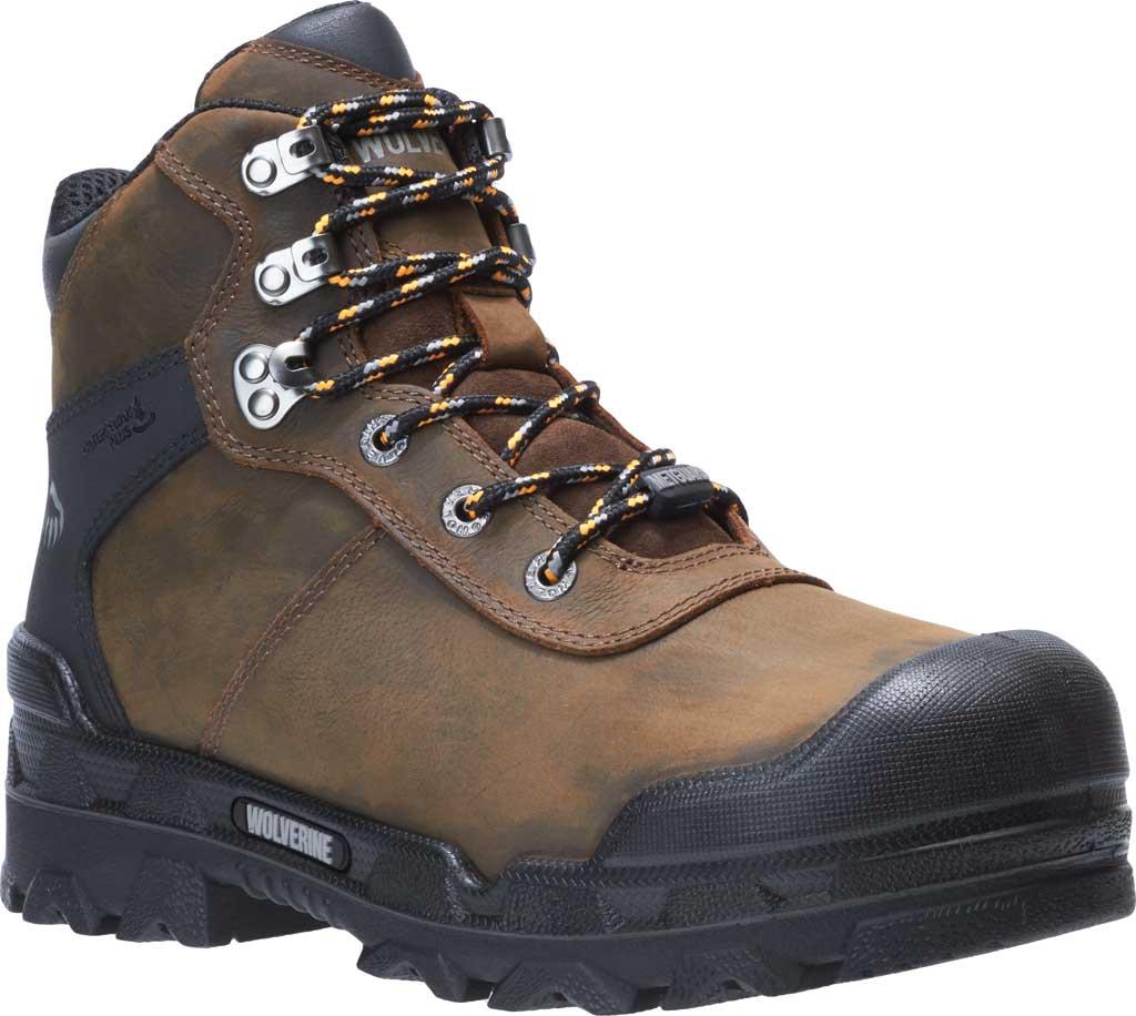 "Men's Wolverine Warrior Met Guard 6"" CarbonMAX Comp Toe Boot, Dark Brown Waterproof Full Grain Leather, large, image 1"