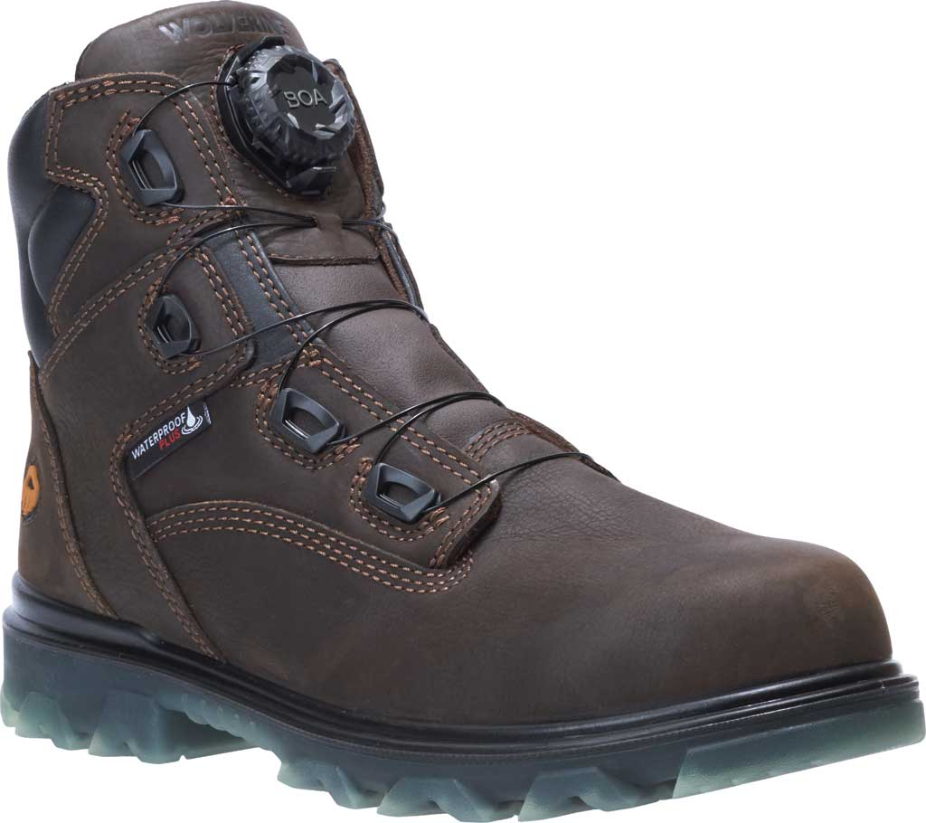 "Men's Wolverine I-90 6"" EPX BOA CarbonMAX Comp Toe Work Boot, Coffee Bean Waterproof Full Grain Leather, large, image 1"