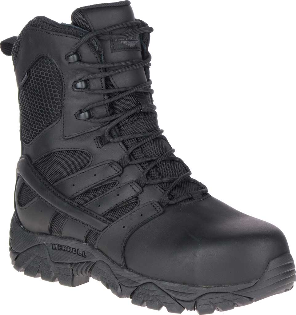 """Men's Merrell Work Moab 2 8"""" Tactical Response WP Composite Toe Boot, Black Waterproof Leather/Textile, large, image 1"""