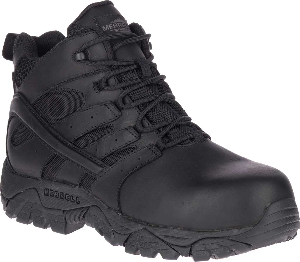 Men's Merrell Work Moab 2 Mid Tactical Response WP Composite Toe Boot, Black Waterproof Leather/Textile, large, image 1