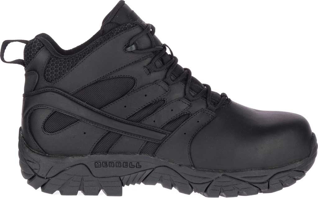 Men's Merrell Work Moab 2 Mid Tactical Response WP Composite Toe Boot, Black Waterproof Leather/Textile, large, image 2