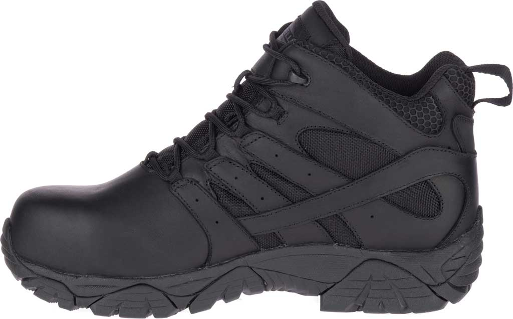 Men's Merrell Work Moab 2 Mid Tactical Response WP Composite Toe Boot, Black Waterproof Leather/Textile, large, image 3