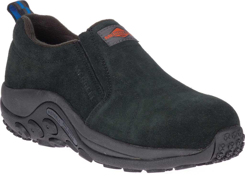 Women's Merrell Work Jungle Moc Alloy Toe Work Shoe, Black Waterproof Suede, large, image 1