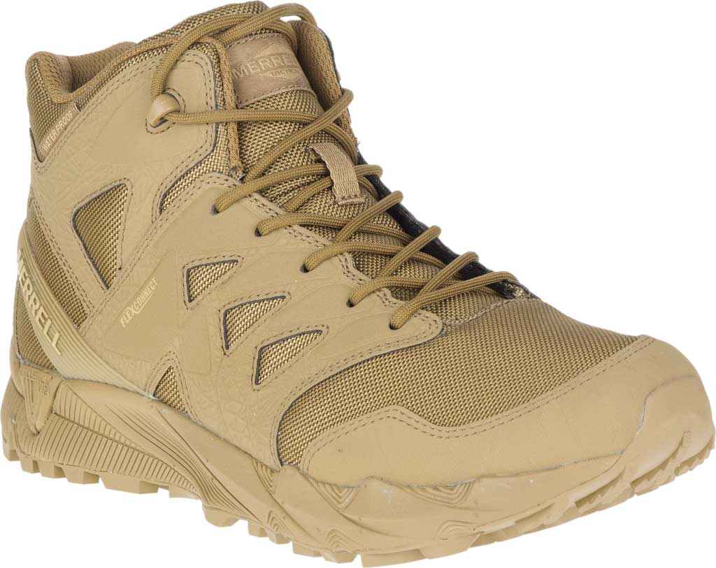 Men's Merrell Work Agility Peak Mid Tactical Waterproof Boot, Coyote Waterproof Ballistic Mesh, large, image 1