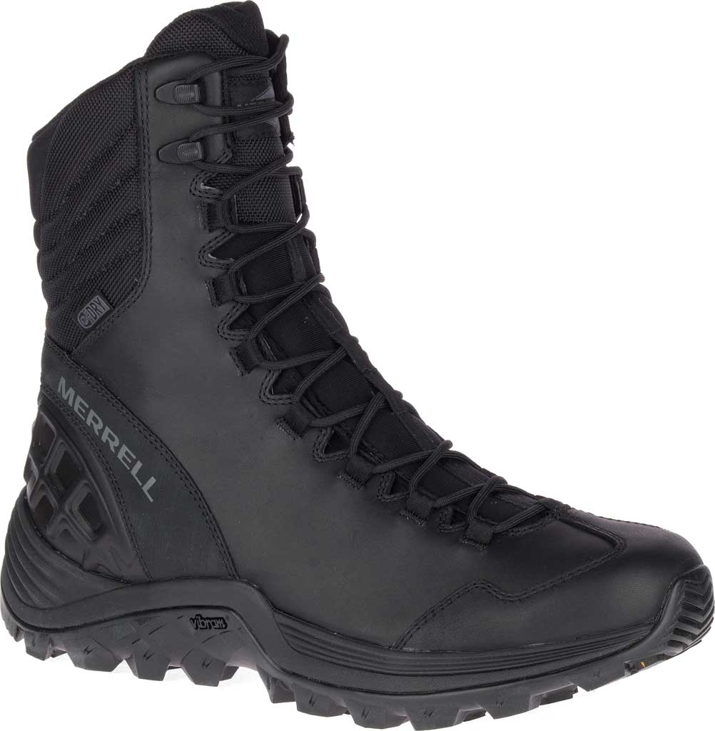 Men's Merrell Work Thermo Rogue Tactical Waterproof Ice+ Snow Boot, Black Waterproof Leather/Ripstop Textile, large, image 1