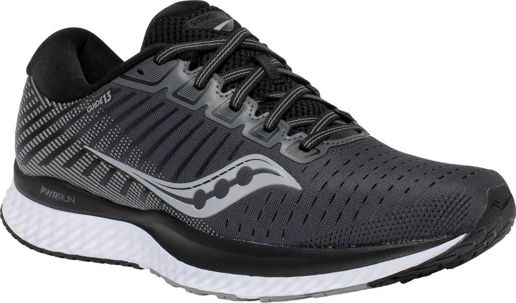 Men's Saucony Guide 13 Running Sneaker, Black/White, large, image 1