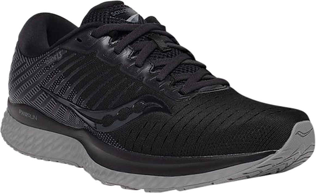 Men's Saucony Guide 13 Running Sneaker, Blackout Engineered Mesh, large, image 1