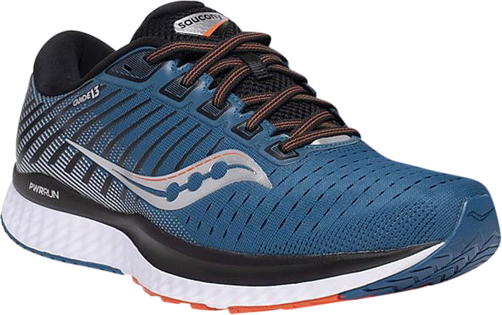 Men's Saucony Guide 13 Running Sneaker, Blue/Silver Engineered Mesh, large, image 1