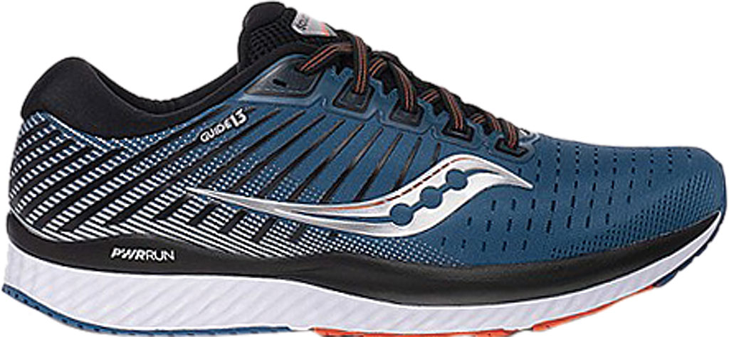 Men's Saucony Guide 13 Running Sneaker, Blue/Silver Engineered Mesh, large, image 2