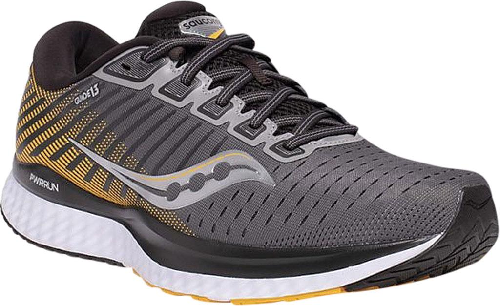 Men's Saucony Guide 13 Running Sneaker, Grey/Yellow Engineered Mesh, large, image 1