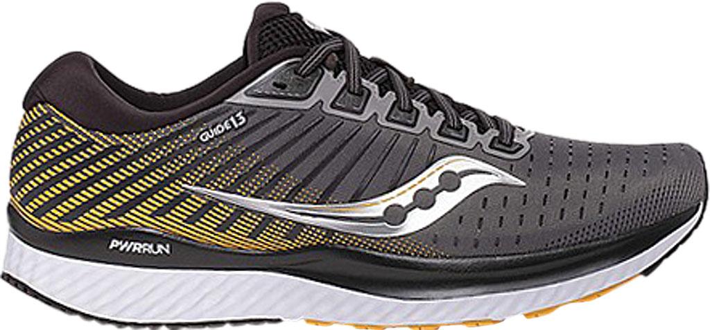 Men's Saucony Guide 13 Running Sneaker, Grey/Yellow Engineered Mesh, large, image 2