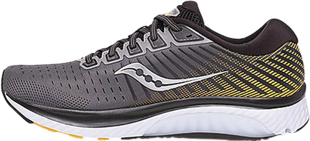 Men's Saucony Guide 13 Running Sneaker, Grey/Yellow Engineered Mesh, large, image 3