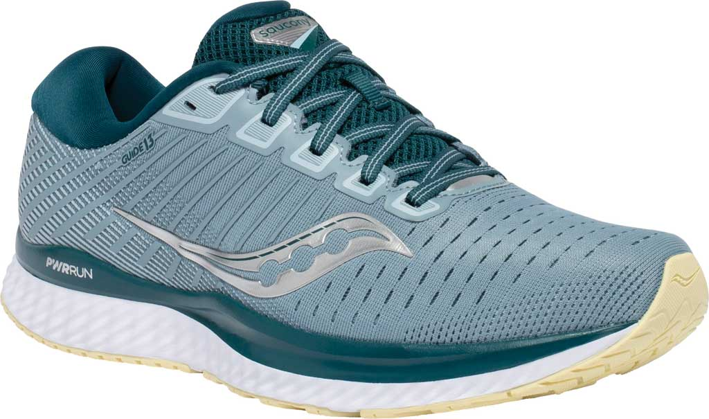 Men's Saucony Guide 13 Running Sneaker, Mineral/Deep Teal, large, image 1