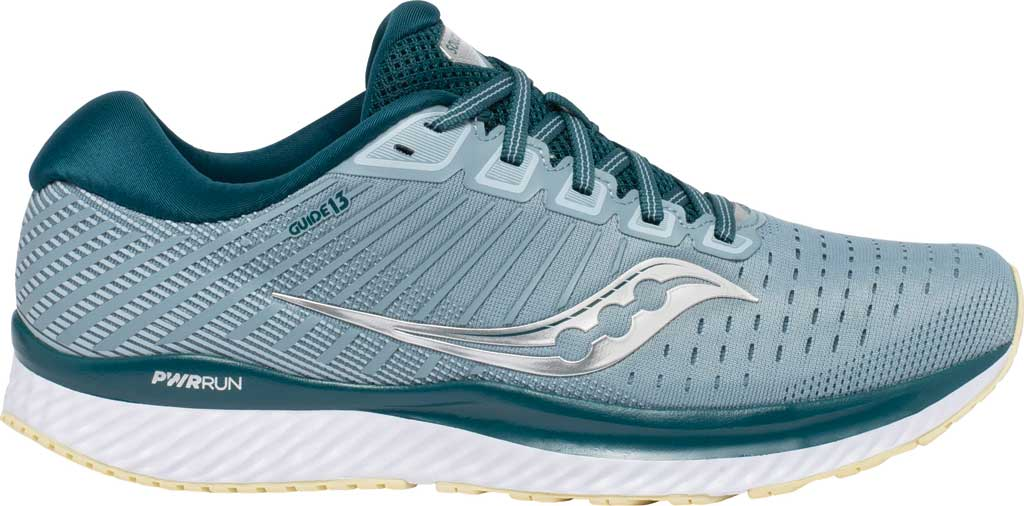 Men's Saucony Guide 13 Running Sneaker, Mineral/Deep Teal, large, image 2