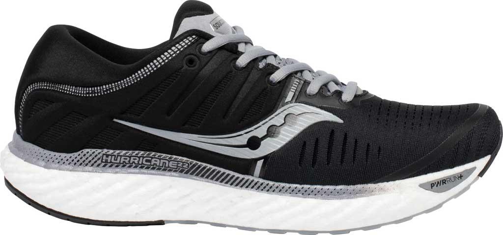 Men's Saucony Hurricane 22 Running Sneaker, Black/White, large, image 2