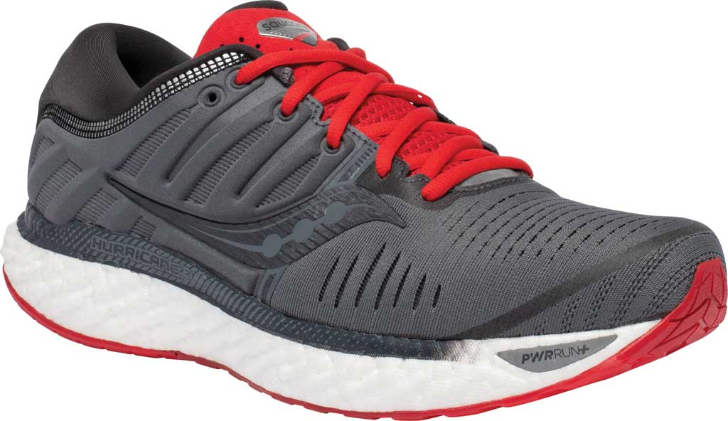 Men's Saucony Hurricane 22 Running Sneaker, Charcoal/Red, large, image 1