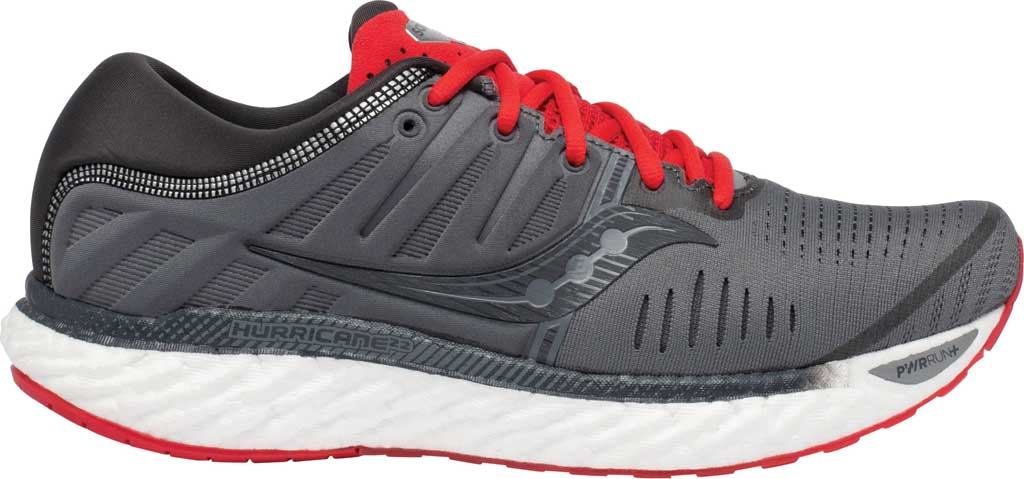 Men's Saucony Hurricane 22 Running Sneaker, Charcoal/Red, large, image 2