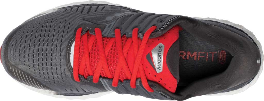 Men's Saucony Hurricane 22 Running Sneaker, Charcoal/Red, large, image 4