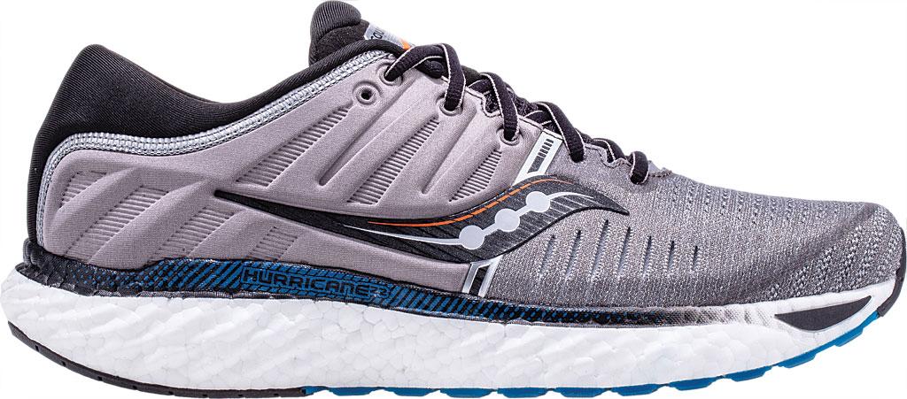 Men's Saucony Hurricane 22 Running Sneaker, Grey/Black Engineered Mesh, large, image 1