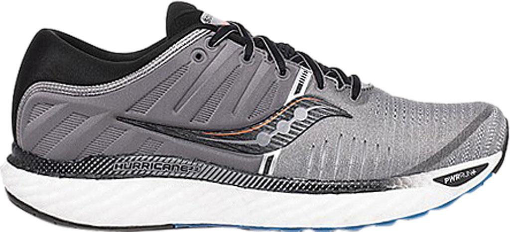 Men's Saucony Hurricane 22 Running Sneaker, Grey/Black Engineered Mesh, large, image 2