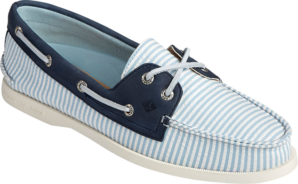 Women's Sperry Top-Sider Authentic Original 2-Eye Seersucker Boat Shoe, Blue Textile, large, image 1