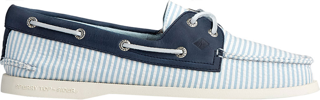 Women's Sperry Top-Sider Authentic Original 2-Eye Seersucker Boat Shoe, Blue Textile, large, image 2